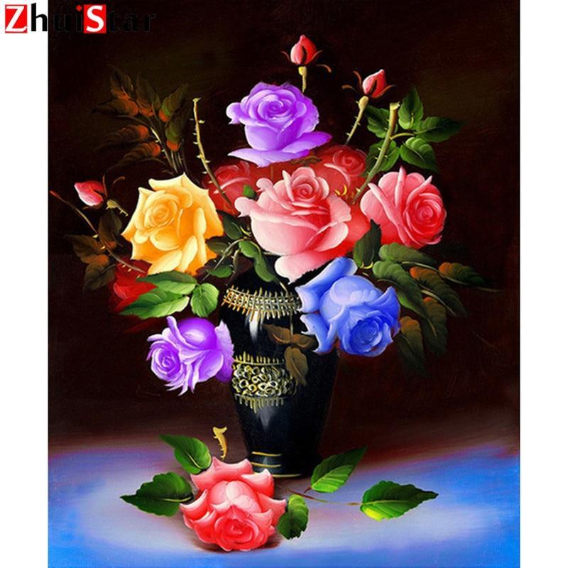 5D Diamond Painting Rainbow Roses Kit