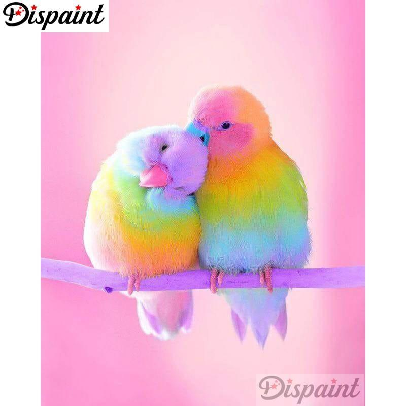 5D Diamond Painting Rainbow Sherbet Parakeets Kit