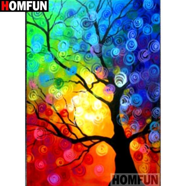 5D Diamond Painting Rainbow Sky behind the Tree Kit