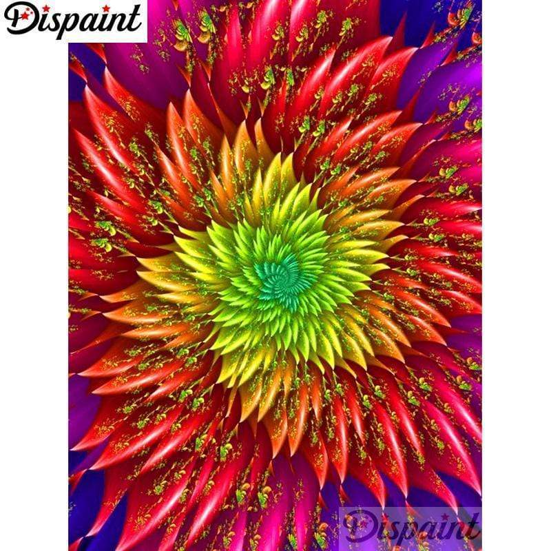 5D Diamond Painting Rainbow Spiky Flower Kit