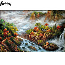 5D Diamond Painting Rapids under the Bridge Kit