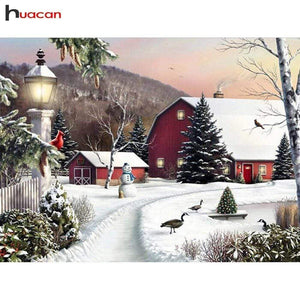 5D Diamond Painting Red Barn Snowman Kit