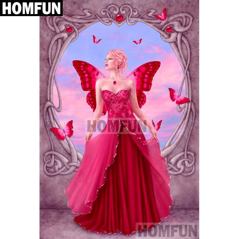 5D Diamond Painting Red Butterfly Girl Kit