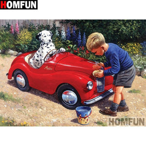 5D Diamond Painting Red Car Dalmatian kit