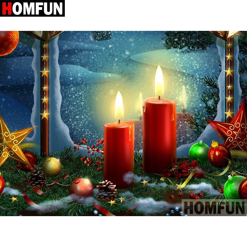 5D Diamond Painting Red Christmas Candles Kit