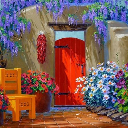 5D Diamond Painting Red Door Kit