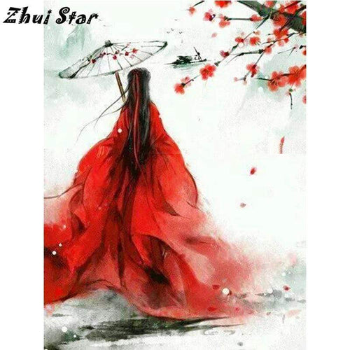 5D Diamond Painting Red Dress Woman Parasol Kit