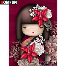 5D Diamond Painting Red Flower Geisha Girl Kit