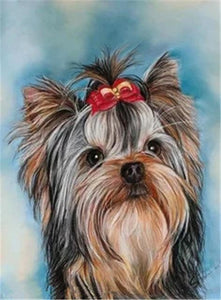 5D Diamond Painting Red & Gold Bow Yorkie Kit