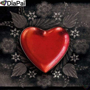 5D Diamond Painting Red Heart Leaves Kit