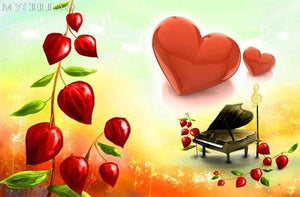 5D Diamond Painting Red Heart Piano Kit