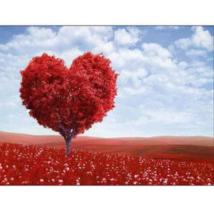 5D Diamond Painting Red Heart Tree Kit