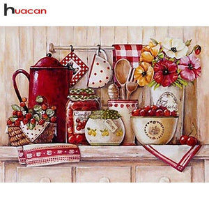 5D Diamond Painting Red Kitchen Shelf Kit