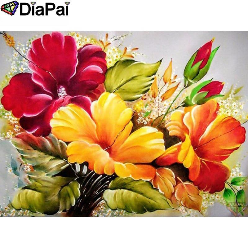 5D Diamond Painting Red, Orange and Yellow Flowers Kit