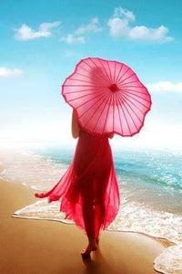5D Diamond Painting Red Parasol Woman Kit