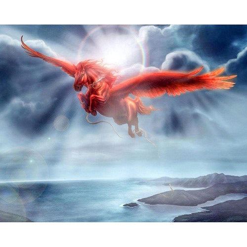 5D Diamond Painting Red Pegasus in the Sunlight Kit