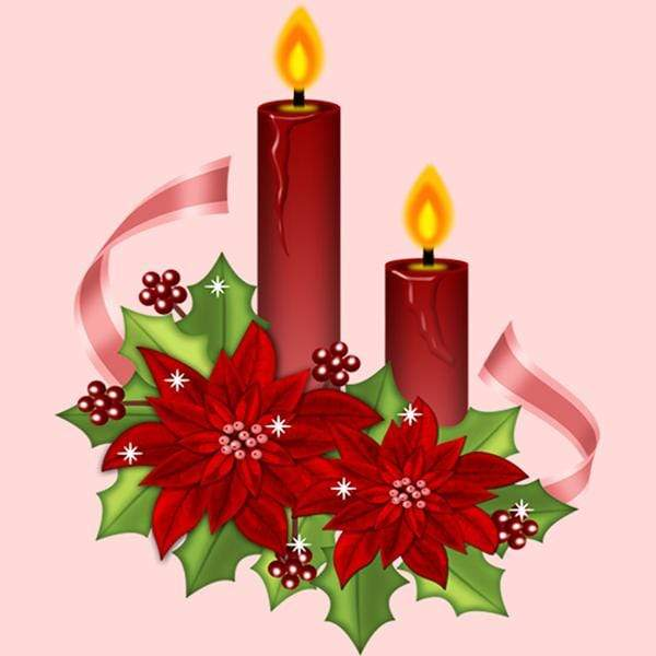 5D Diamond Painting Red Poinsettia Candles Kit