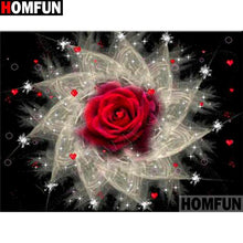 5D Diamond Painting Red Rose Abstract Burst Kit