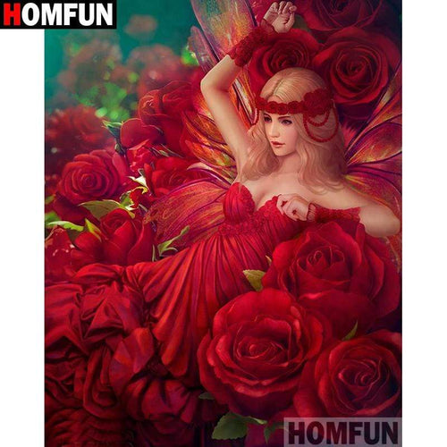 5D Diamond Painting Red Rose Woman Kit