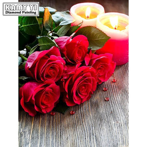 5D Diamond Painting Red Roses and Candles Kit