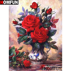 5D Diamond Painting Red Roses in a Blue Bird Vase Kit