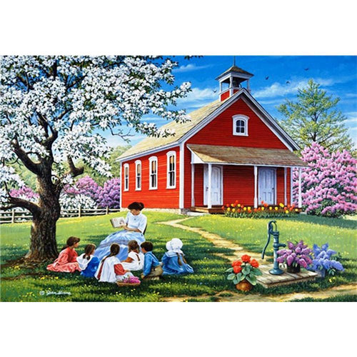 5D Diamond Painting Red School House Kit