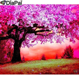 5D Diamond Painting Red Sky Pink Blossoms Tree Kit