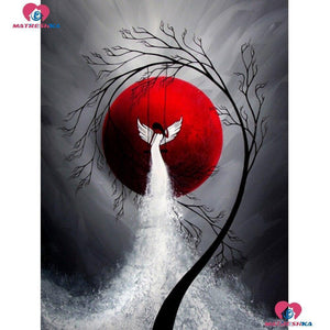 5D Diamond Painting Red Sun Swinging Angel Kit