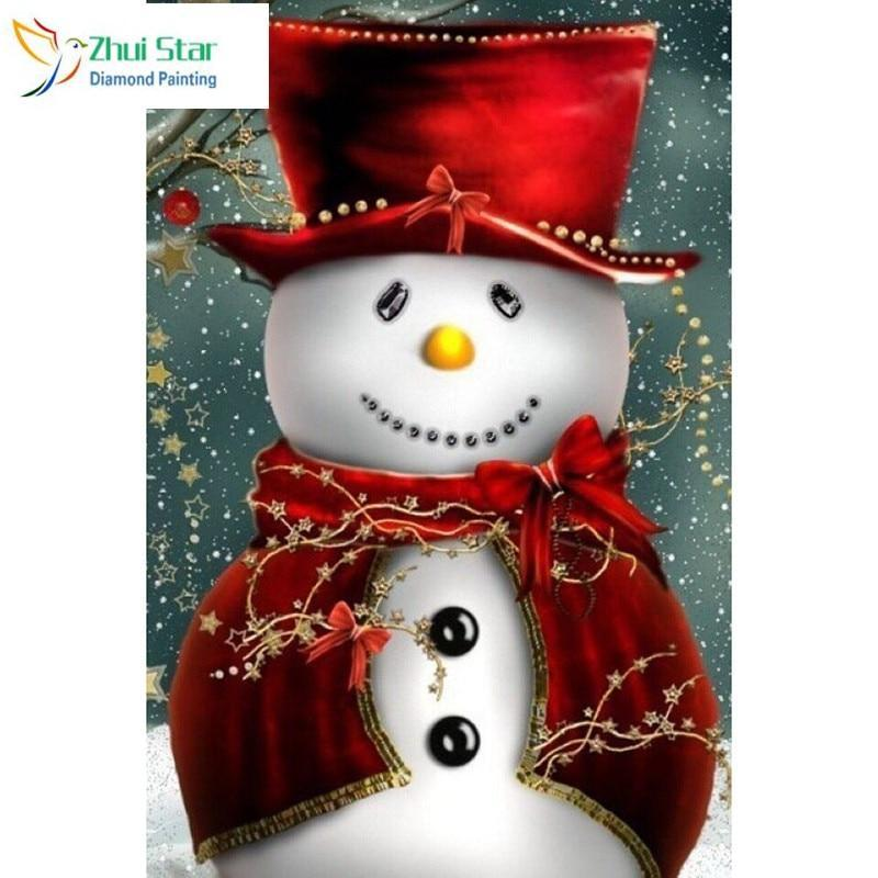 5D Diamond Painting Red Top Hat Snowman Kit