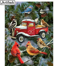 5D Diamond Painting Red Truck Bird Feeder Kit
