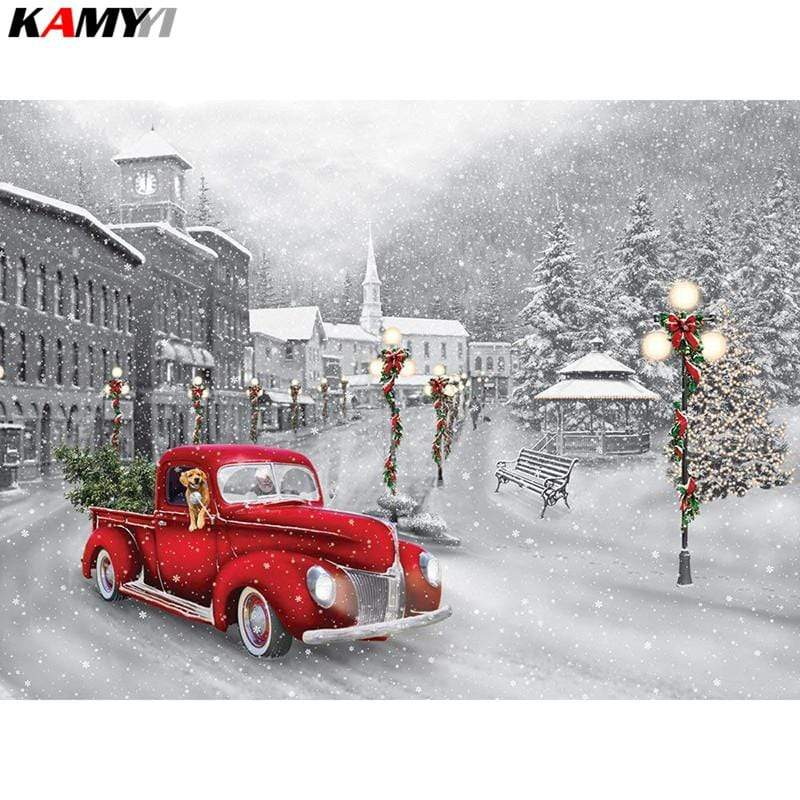 5D Diamond Painting Red Truck Christmas Tree Kit