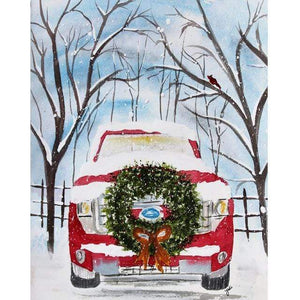 5D Diamond Painting Red Truck Christmas Wreath Kit