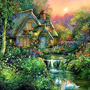 5D Diamond Painting River End Home