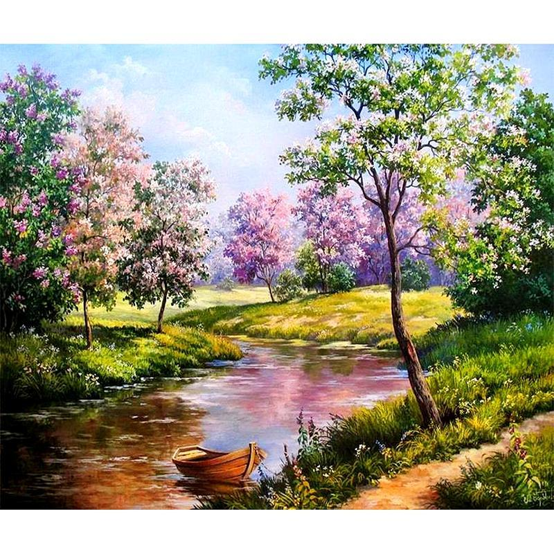 5D Diamond Painting Riverside in Spring Kit