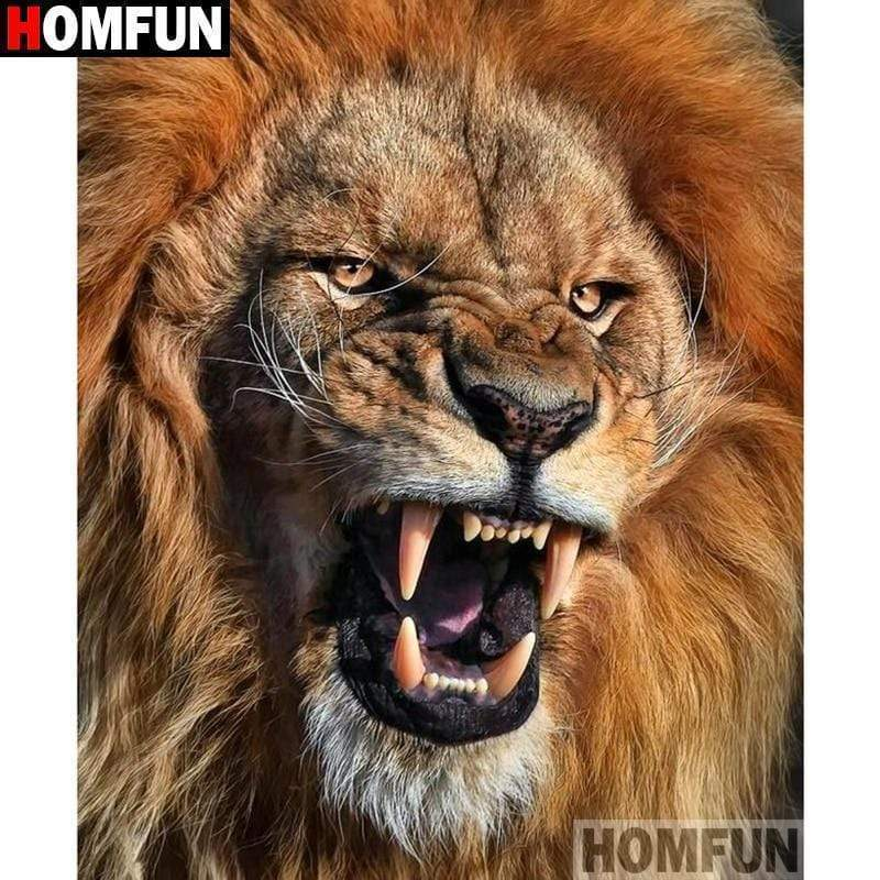 5D Diamond Painting Roaring Lion Kit