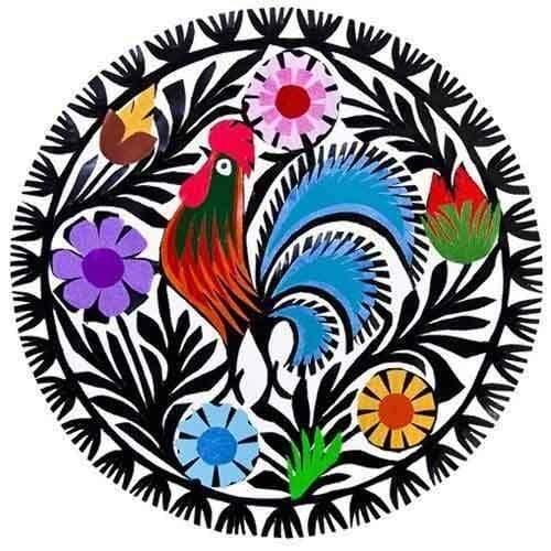 5D Diamond Painting Rooster and Flowers Circle Kit