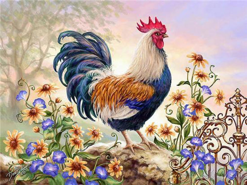 5D Diamond Painting Rooster and Flowers Kit