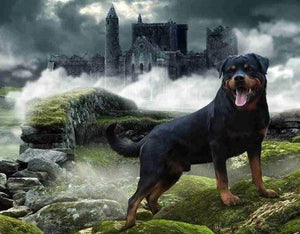 5D Diamond Painting Rottweiler Castle Kit