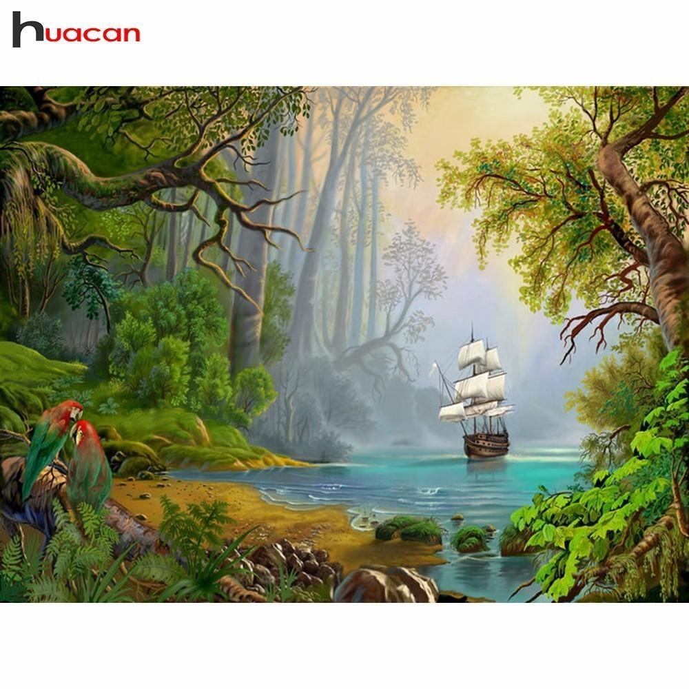 5D Diamond Painting Sail Boat down the River Kit