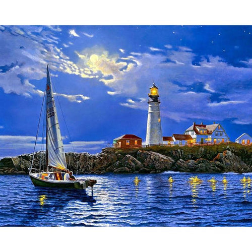 5D Diamond Painting Sail Boat & Lighthouse Kit