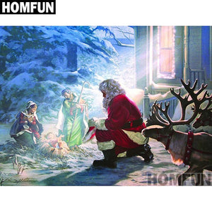 5D Diamond Painting Santa and Baby Jesus Kit