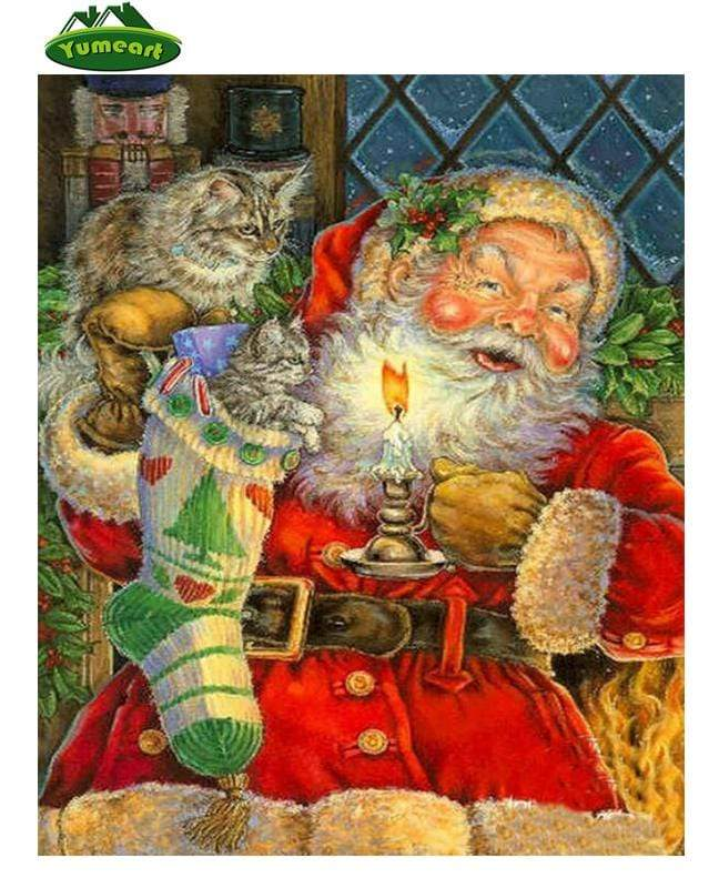 5D Diamond Painting Santa and Two Kittens by Candle Light Kit