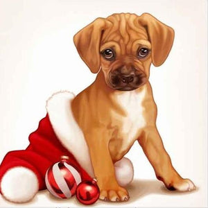 5D Diamond Painting Santa Hat Puppy Kit