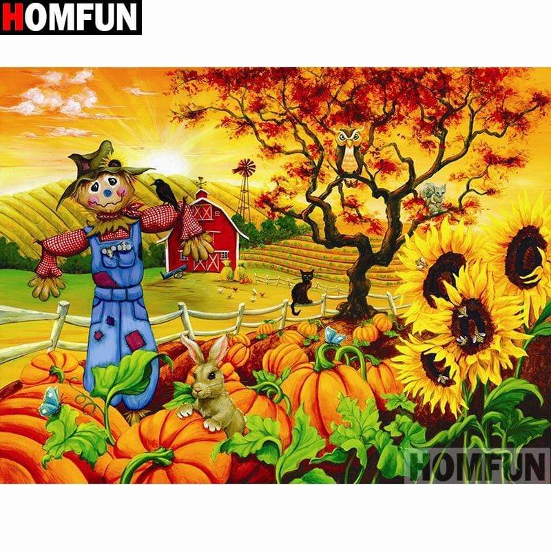5D Diamond Painting Scarecrow at the Pumpkin Patch Kit