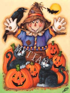 5D Diamond Painting Scarecrow, Cats and Pumpkins Kit