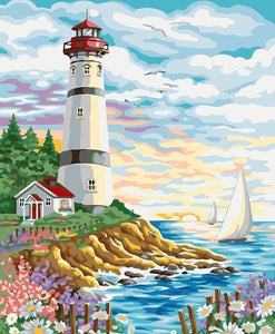 5D Diamond Painting Seaside Sailboat and  Lighthouse Kit