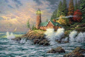 5D Diamond Painting Seaside Waves Lighthouse Kit