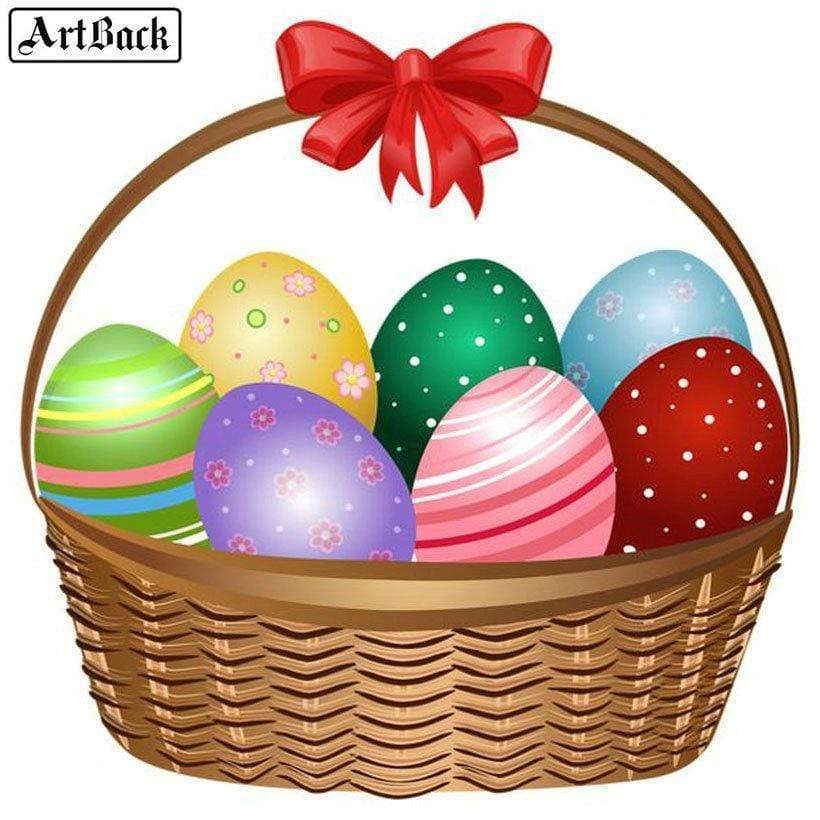 5D Diamond Painting Seven Easter Eggs In a Basket Kit