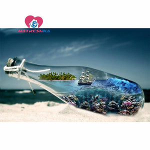 5D Diamond Painting Ship in a Bottle Kit