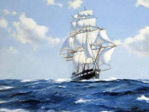 5D Diamond Painting Ship on the Blue Sea Kit